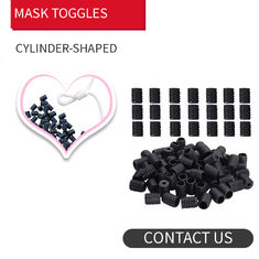 Face Masks Round Flat Shape & & Black Silicone Spiral 6mm Elastic Cord Stopper